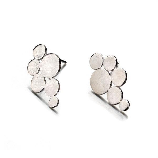 New Silver Bubble Stud Earrings - Liat Waldman
