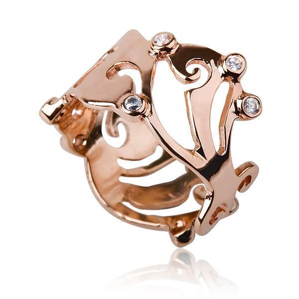 Art Nouveau Engagement Ring 14 kt Red Gold - Liat Waldman