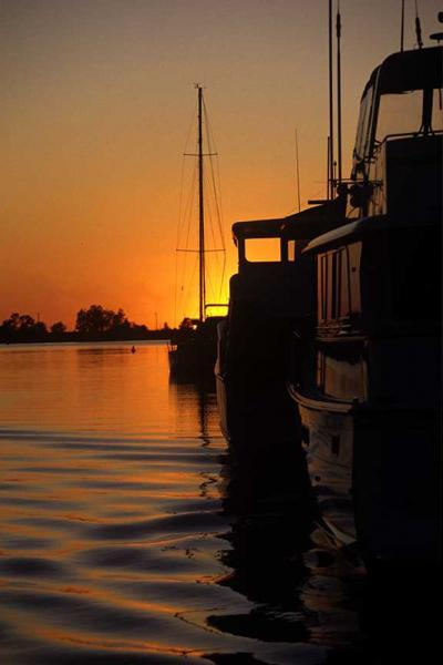 Boats on the Portage River at Sunset Fine Art Photo