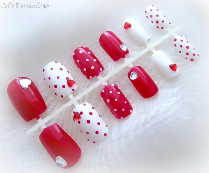 Pin-up girl red and white polka dot nails