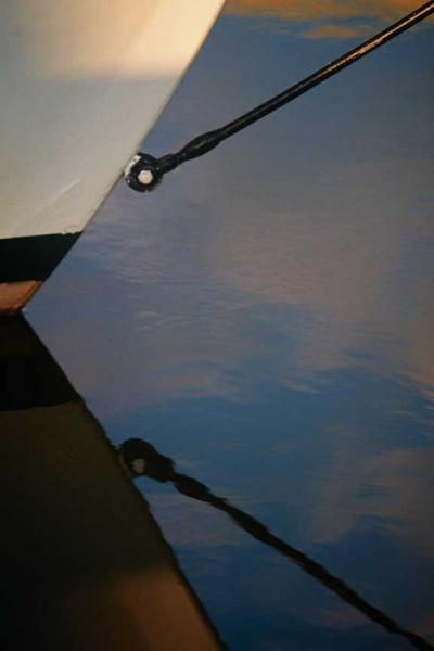 Abstract of a Sailboats Bow Reflection Fine Art Photo
