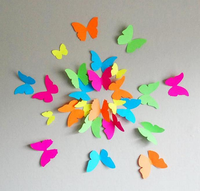 3D Neon Butterflies- Set of 20