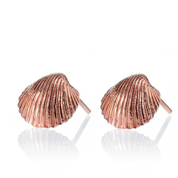Seashell Stud 14 kt Red Gold Earrings - Liat Waldman