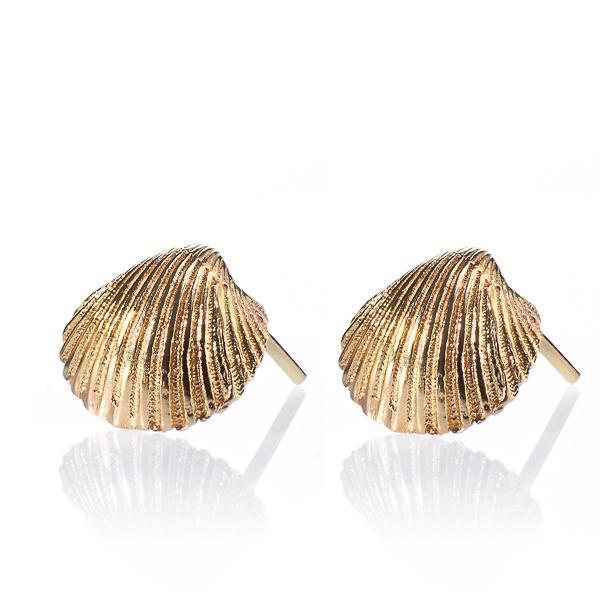 Seashell Stud 14 kt Gold Earrings - Liat Waldman
