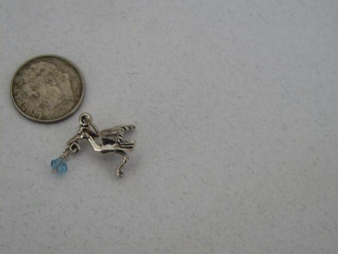 Stork  SS Charm with  Swarovski  Element Bead