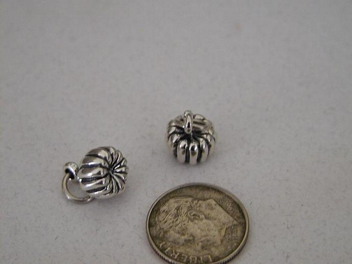 Pumpkin Sterling Silver Charm
