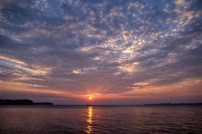 Big Sky a Sunset Over a Classic Sailboat Fine Art Photo