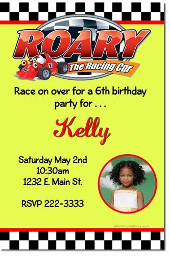Roary the Racing Car Birthday Invitations (click for additional designs)