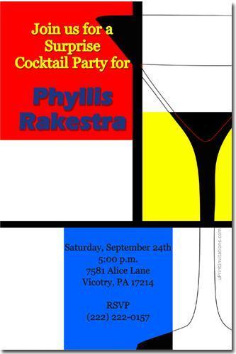 Martini Glass Birthday Invitations **DOWNLOAD JPG IMMEDIATELY**