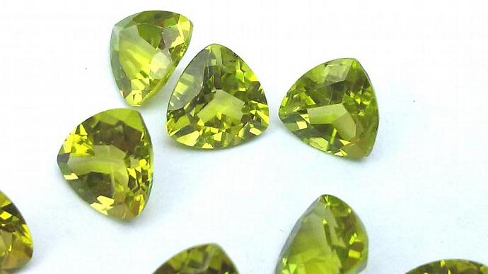 Peridot Gemstones - Trillion Cut - Matched Pair