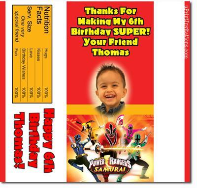 Power Rangers Candy Bar Wrappers **DOWNLOAD JPG IMMEDIATELY**