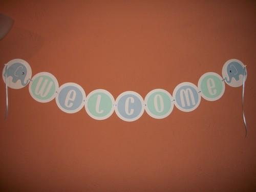 Baby Boy Elephant Welcome Banner / Sign