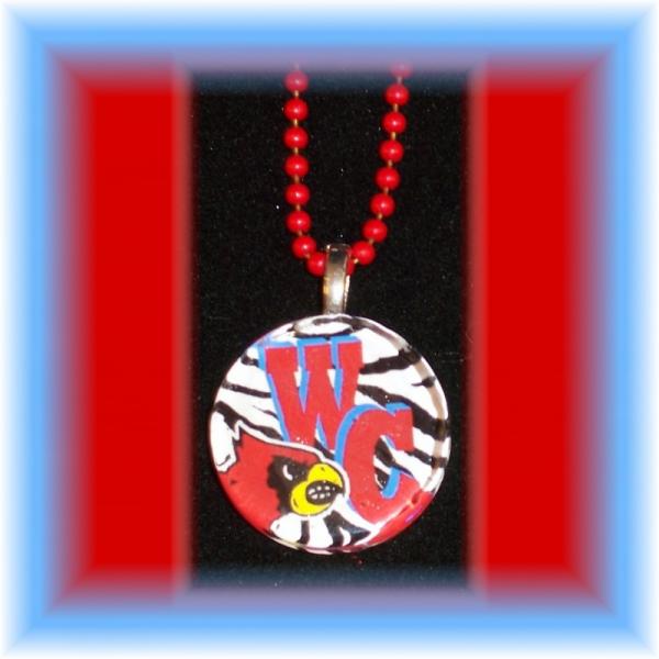 Glass Tile Pendant Webb City Cardinals ZEBRA FREE SHIPPING