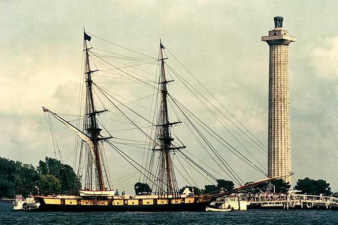 Tall Ship Niagara at Put in Bay in Front of Perrys Monument Fine Art Historical