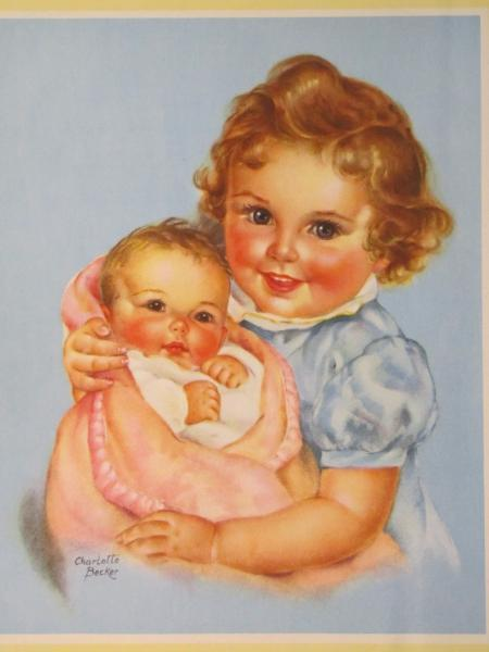 """Vintage, by Charlotte Becker,  """"The Little Mother"""" from """"Ideals"""" Family issue"""