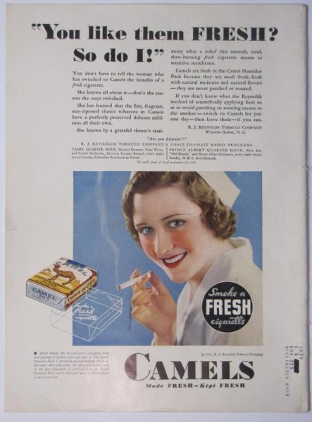 Vintage, 1932 Camels cigarette from the back cover the The Elks Magazine.