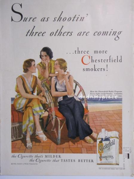 Vintage Chesterfield Cigarettes advertisement, from the back cover of The Elks