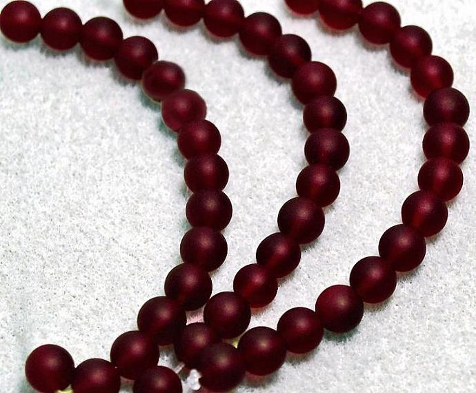 Dark Garnets- recycled sea glass beads