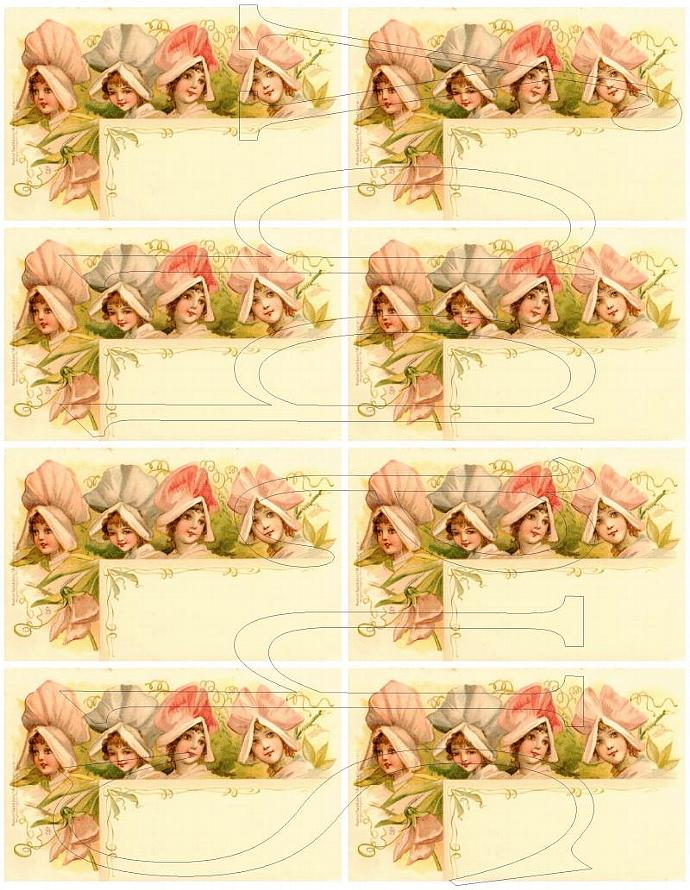 Shabby Chic digital Flower fairy fairies faeries collage sheet for scrapbook and