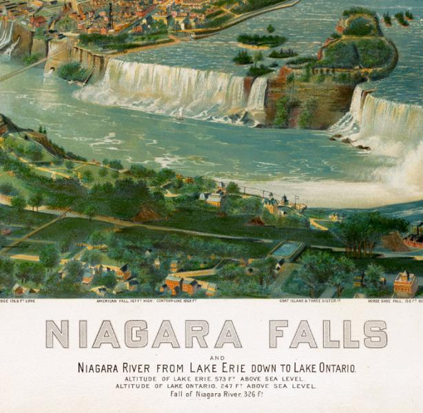 Panoramic View of Niagara Falls, LAke Erie Lake Ontario , Aerial view  United