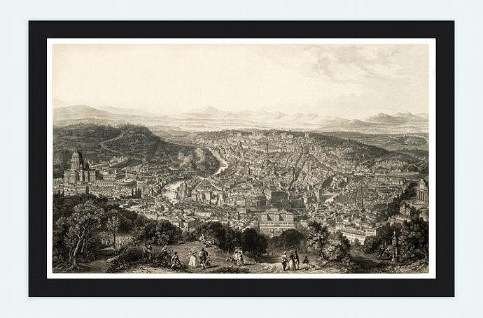 Old Panoramic View of Rome City. engraving. Italy 1860 Vatican