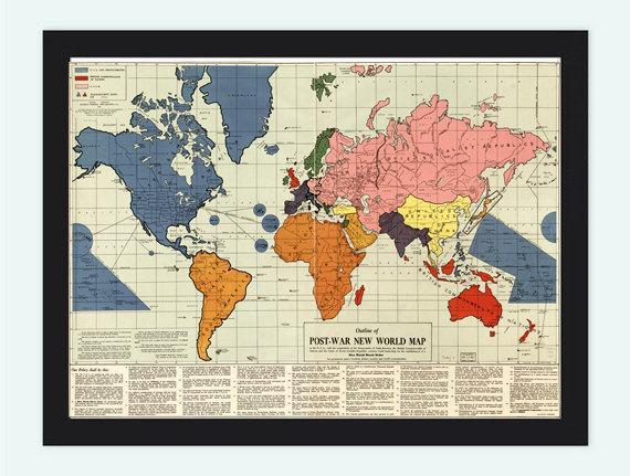 Old World Map infamous New World Order map by oldcityprints on Zibbet