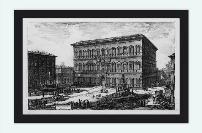 Giovanni Battista Piranesi Palazzo Farnese Rome Engraving  1800