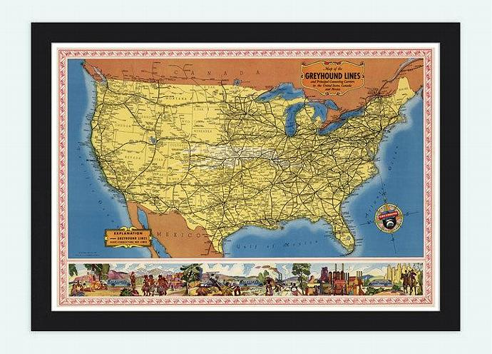 Old Map of United States  North America 1935