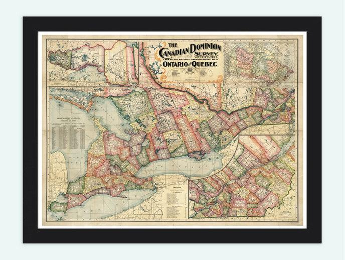 Old Map Of Canada Quebec Ontario North By Oldcityprints On Zibbet