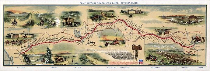 Vintage Map of United States America, Pony express route