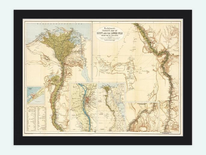 Old Map of Egypt and Lower Nile River, 1897, Antique Vintage Tourist Map