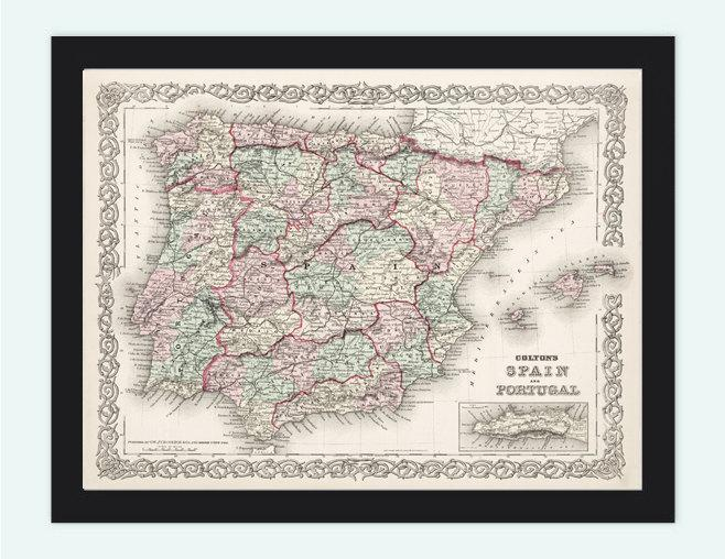 Old Map of Spain and Portugal, 1886, Europe Antique Gibraltar