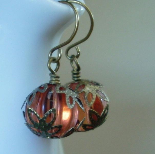 Vine Ripened - Peach Glass Melon Earrings