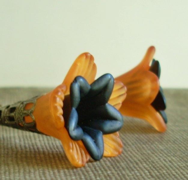 Spooky Blooms - Long Halloween Flower Earrings in