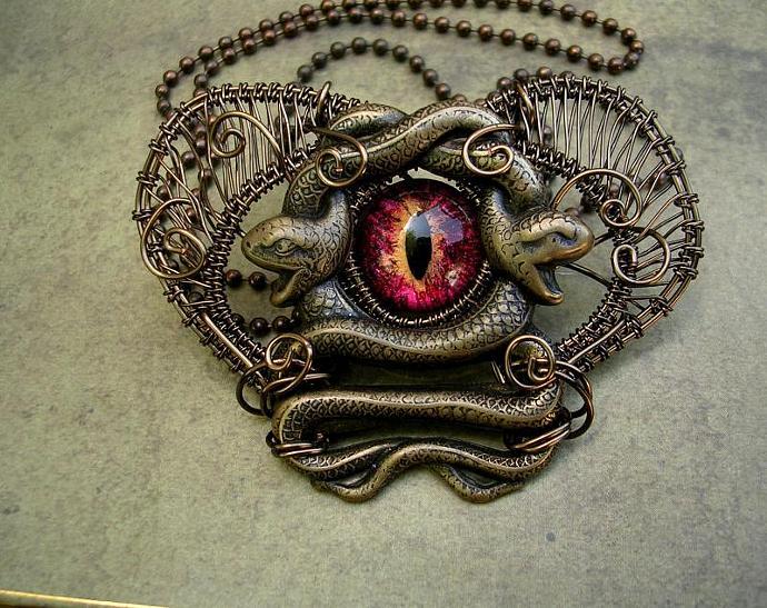 ON LAYAWAY - Steampunk Gothic - Medusa Heart Evil Eye - Dragon Snake Brooch Pin