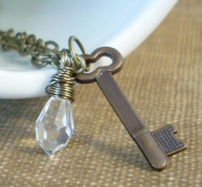 Keep My Secret Safe - Crystal and Brass Key Neckla