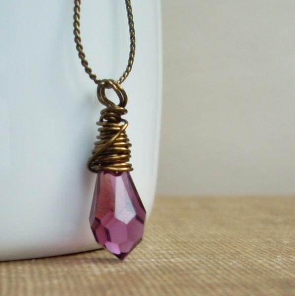 Amethyst Dagger - Wire Wrapped Crystal Necklace
