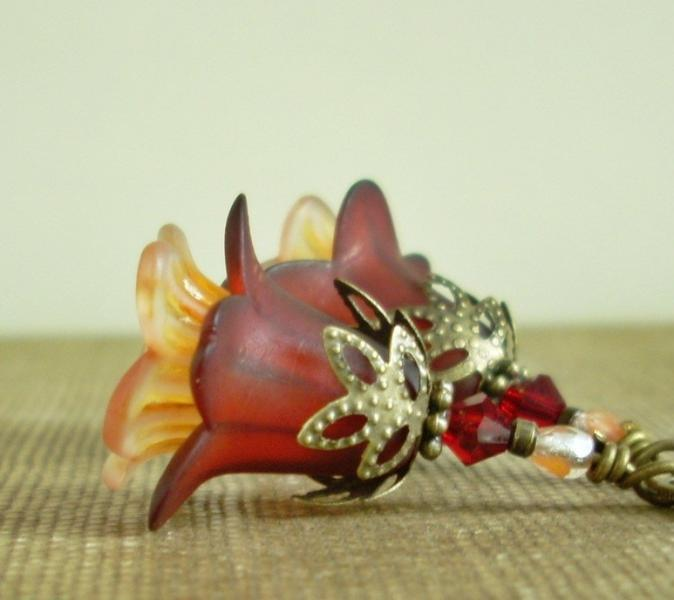 Bell Flower Earrings in Autumn Leaf Hues