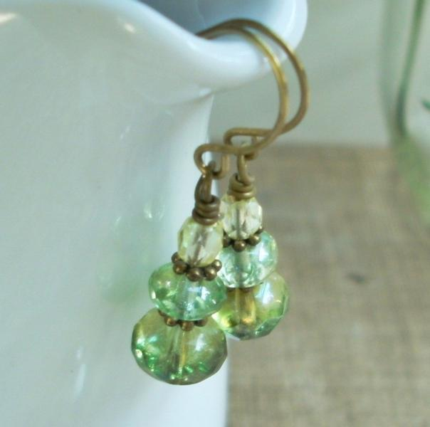 Fire Polished Green Glass Earrings - Radiant Fores