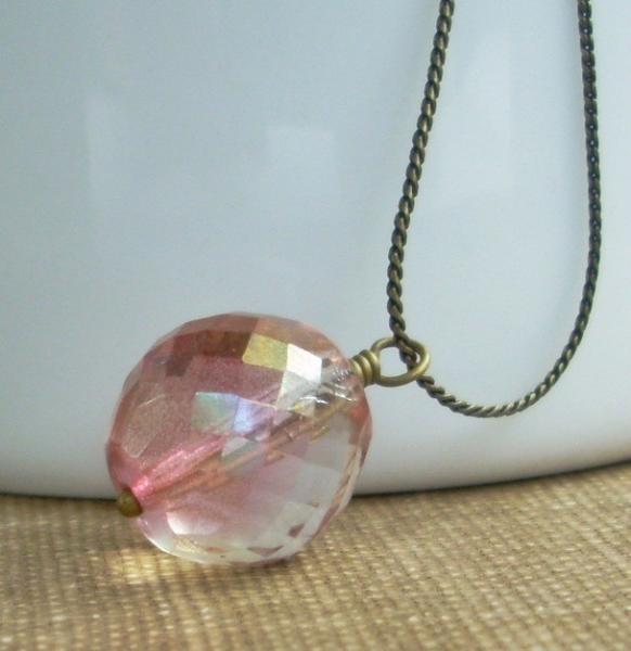 On Sale - Golden Rosy Blush Globe Necklace - Ashle