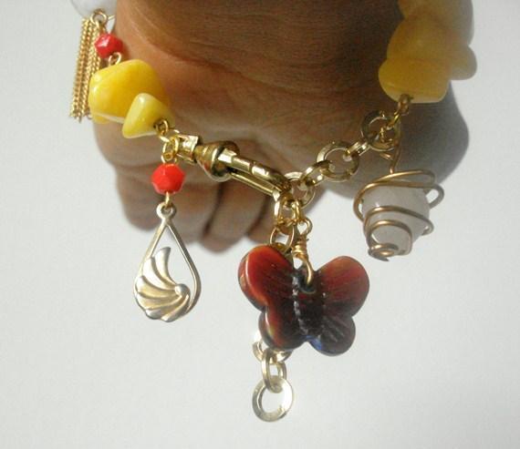Rouge et jaune Bracelete de charme