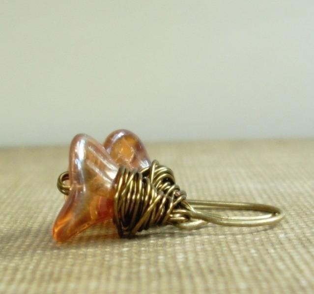 Wire Wrapped Glass Flower Earrings in Rosaline Glo