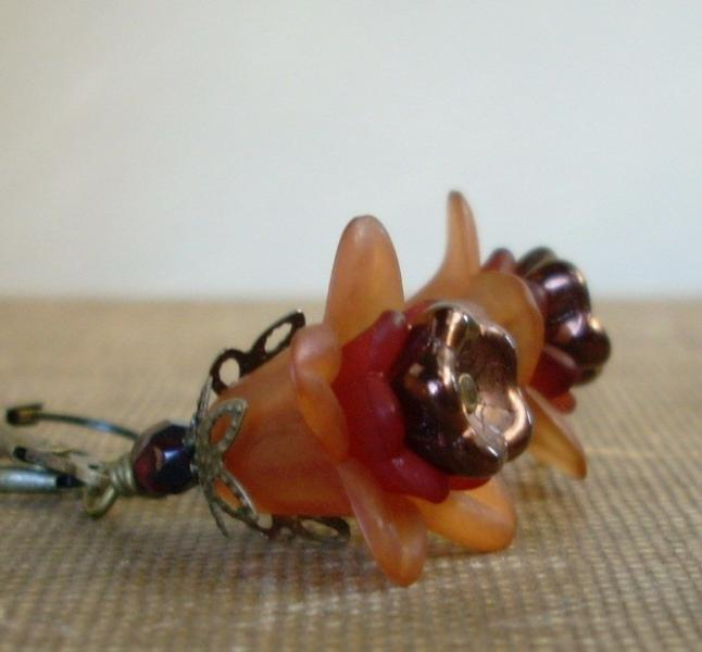 Layered Lucite Flower Earrings in Spice