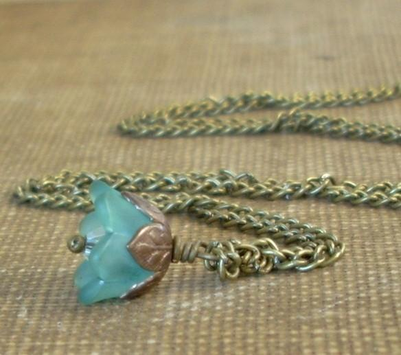 Tiny Flower Necklace in Dark Stormy Teal