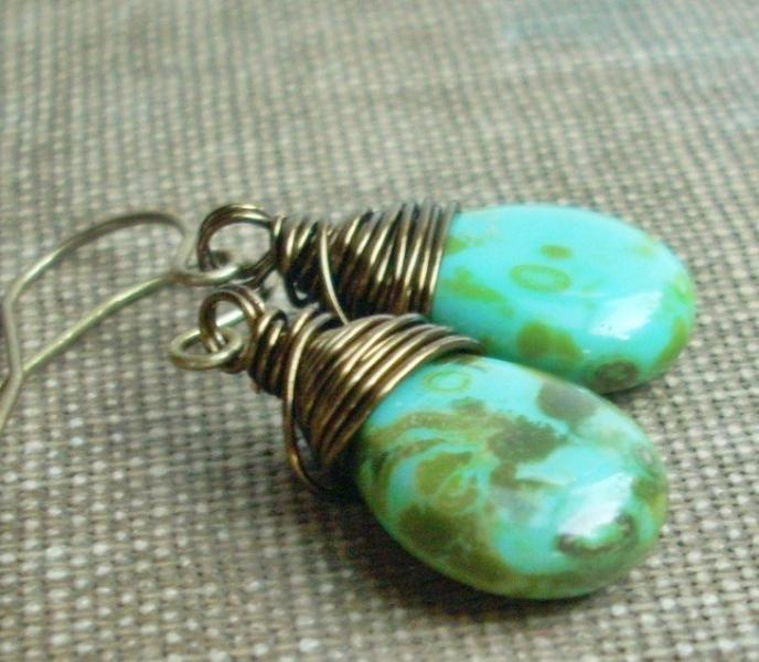 Wire Wrapped Czech Glass Teardrops in Stone Turquo