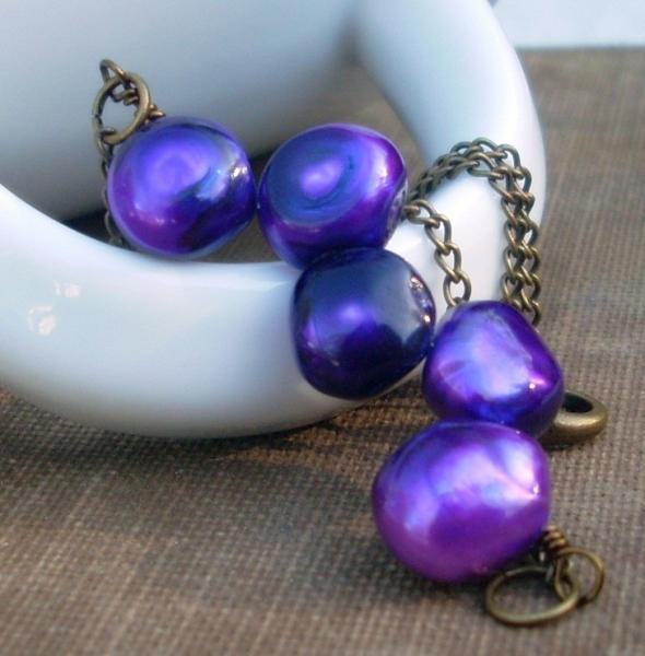 Bold Violet Freshwater Pearl Wrapped Necklace