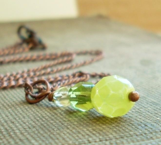 Faceted Glass Bead Trio in Frosty Lime, Peridot, a
