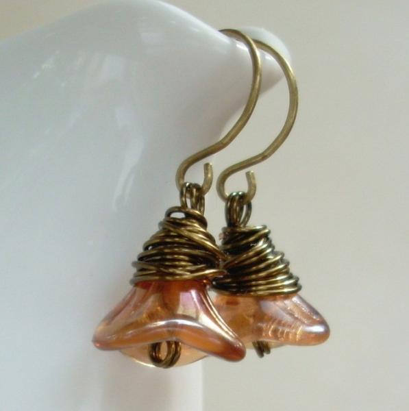 Wire Wrapped Glass Flower Earrings in Rosaline Glo