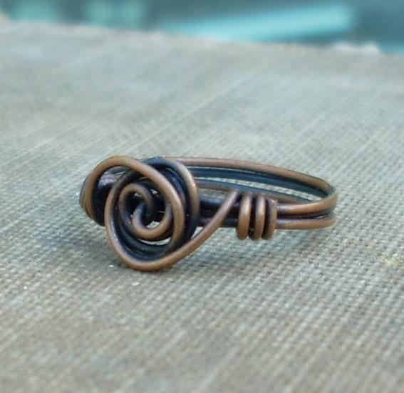 Oxidized Copper Wire Wrapped Rosette Swirl Ring