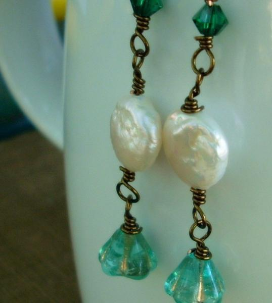 On the Coast Pearl and Crystal Dangling Earrings